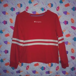 ♡ cropped champion longsleeve ♡